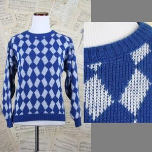 Sweaters - Vtg 80s Argyle Geometric Knit Pullover Sweater